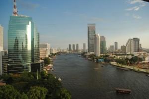 Fiume Chao Phraya visto dalla nostra stanza, Bangkok (แม่น้ำเจ้าพระยา)